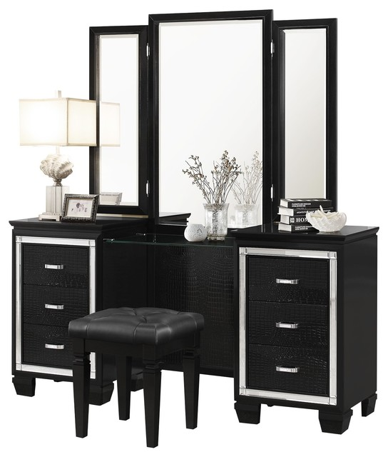 Algiers Vanity and Mirror, Black Alligator Embossed