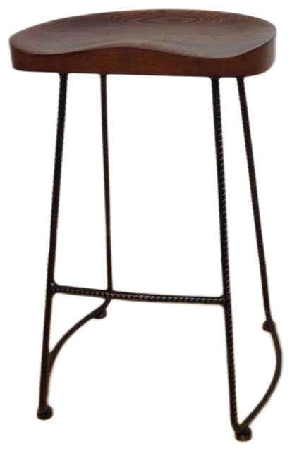 Potter Wood Bar Stools With Metal Legs Set Of 2