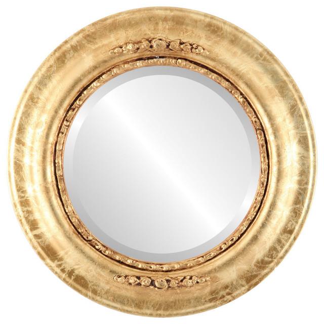 "Boston Framed Round Mirror In Champagne Gold, 19""x19""."