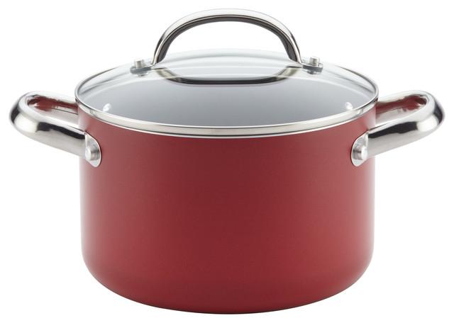 Farberware Buena Cocina Aluminum Nonstick Covered Soup Pot, 4 Quart, Red.