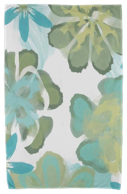 30x60 Ani, Floral Print Beach Towel, Aqua.