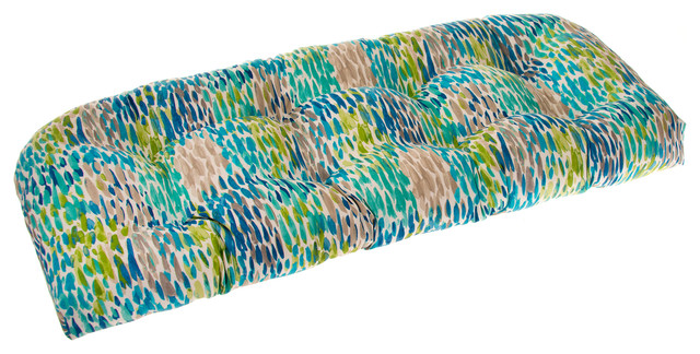 Indoor/Outdoor Reversible Wicker Loveseat Cushion, April Showers, Blue