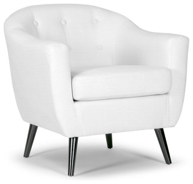 Bon Alena Cream Fabric Arm Chair With Button Back And Black Wood Legs
