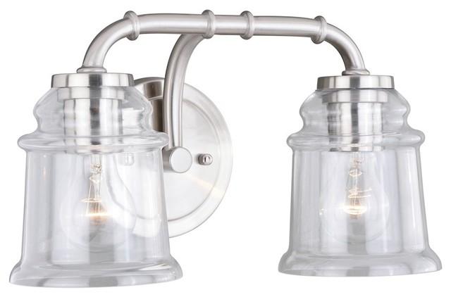 Satin Nickel Ceiling Lights Bathroom Vanity Chandelier: Vaxcel Toledo 2-Light Vanity, Satin Nickel