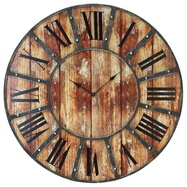Rustic Metal and Wood Clock With Large Roman Numerals Rustic