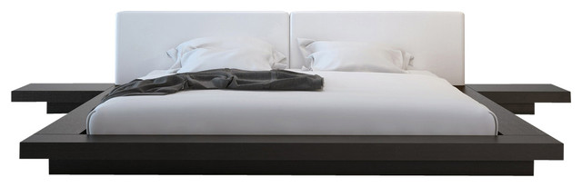 Worth Platform Bed With 2 Matching Nightstands, Wenge And White, Queen.