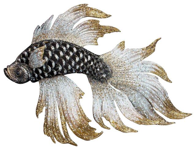 Jay Strongwater Namoko Fighting Fish Figurine Jet Crystal Finish