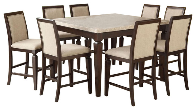 Marble Top 9 Piece Counter Table Set Espresso Traditional Dining Sets