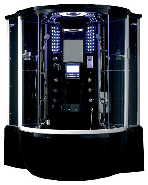 Florence Steam Shower Sauna With Jacuzzi Whirlpool Mage Bathtub Black