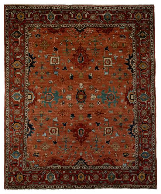 Traditional Area Rugs: Ziegler Wool Area Rug, Rust, 8x10