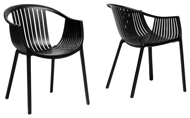 Grafton Black Plastic Stackable Modern Dining Chairs Set Of 2