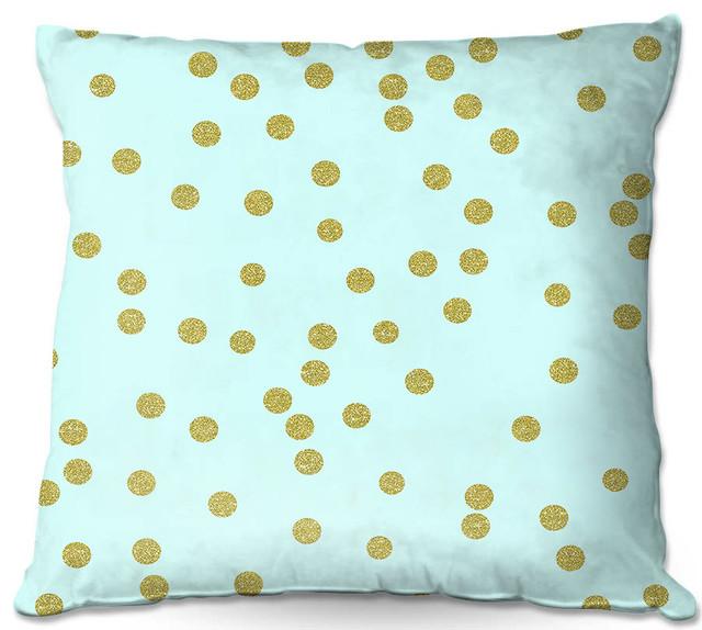 Pale Aqua Gold Round Confetti Throw Pillow Contemporary Interesting Round Yellow Decorative Pillow