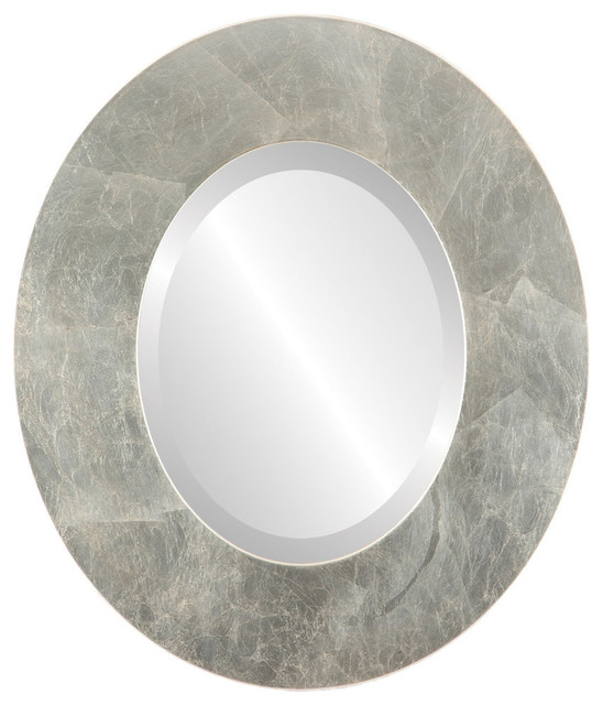 02a0e8f968a2 Tribeca Framed Oval Mirror in Silver Leaf with Brown Antique - Contemporary  - Wall Mirrors - by The Oval   Round Mirror Store