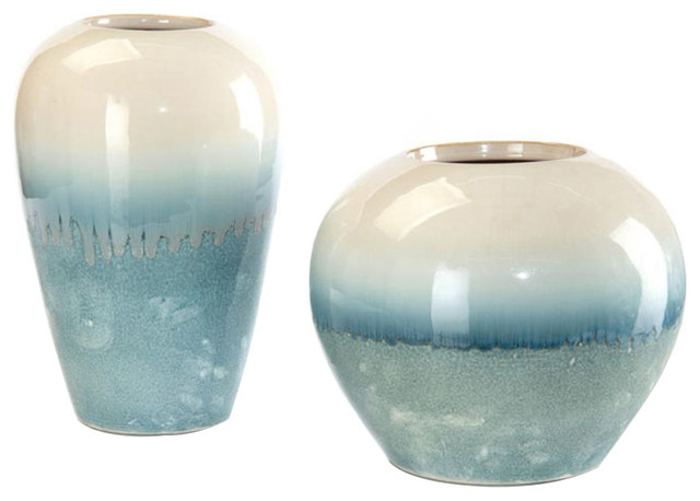 John Richard Set Of 2 Cream Melting Into Blue Vases Jra 9751s2