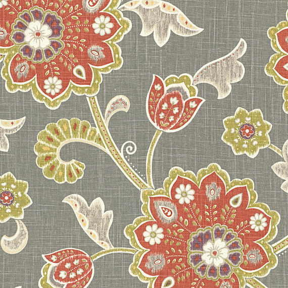 Gray And Orange Stylized Floral Fabric Contemporary