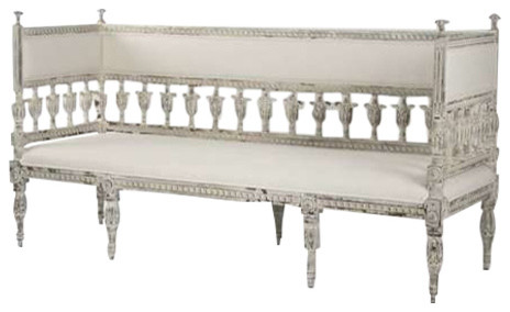European Influenced Bench, Isabel, Distressed White.