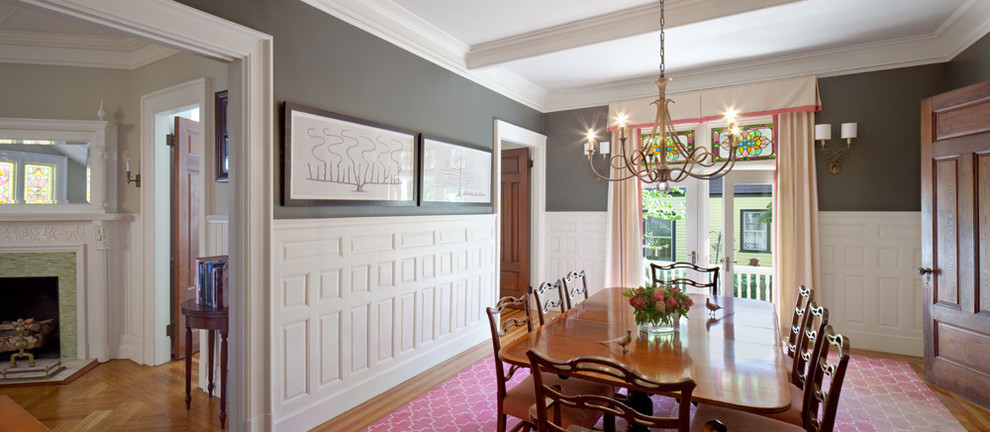 Inspiration for a timeless dining room remodel in Providence