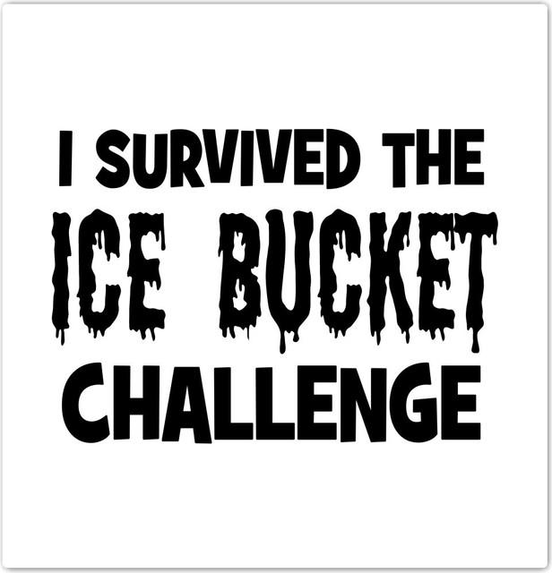 "I Survived The Ice Bucket Challenge Design Ceramic Art Tile, 4.25"" X 4.25""."