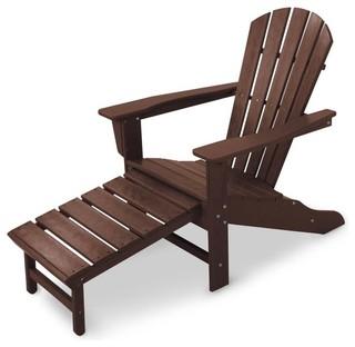 Polywood Ultimate Adirondack Chair With Ottoman Slate Gray Reviews Houzz