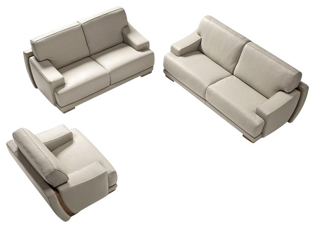 President Light Grey Full Top Grain Italian Leather Sofa Set With ...