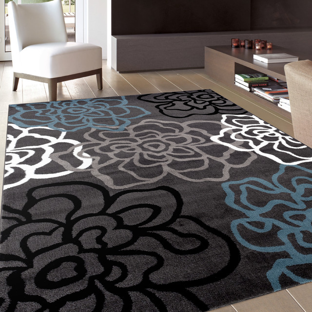 Contemporary Modern Floral Flowers Area Rug, Gray, 10&x27;x14&x27;.