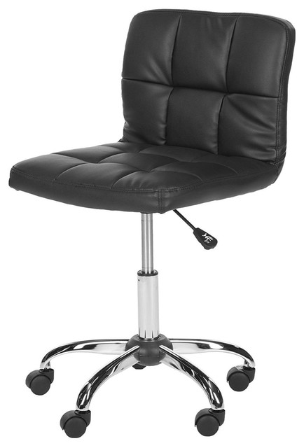 Pleasing Modern Black Faux Leather Cushion Home Office Desk Chair Pabps2019 Chair Design Images Pabps2019Com