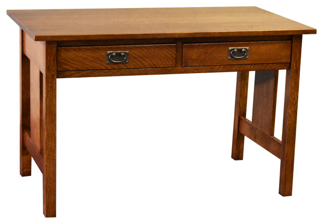 Arts And Crafts Solid Oak Writing Desk