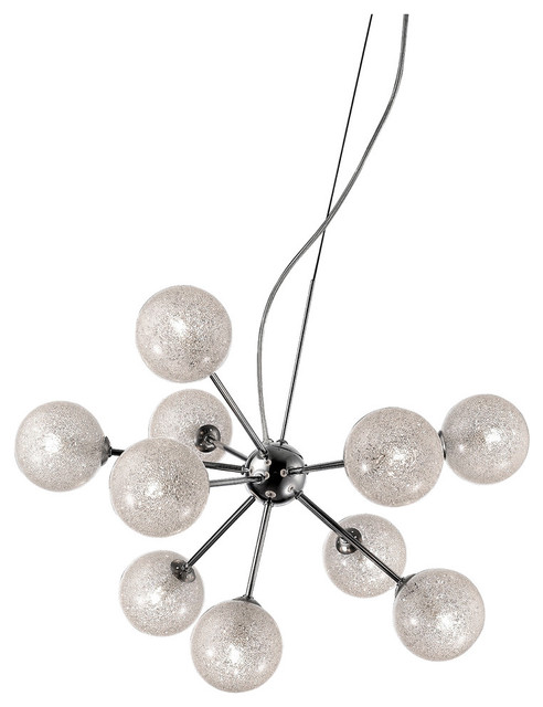Opulence Dimming LED Glitter Glass Chandelier - Chrome Finish, Clear Glass Shade