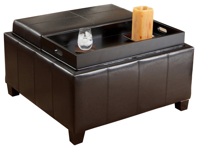 Plymouth Espresso Leather Tray Top Storage Ottoman traditional-footstools -and-ottomans - Shop Houzz GDFStudio Plymouth Espresso Leather Tray Top Storage