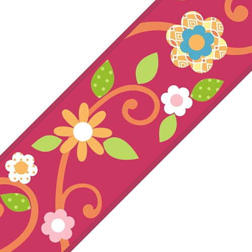 Magenta Floral Scroll 4 Piece Self Stick Wall Border Rolls