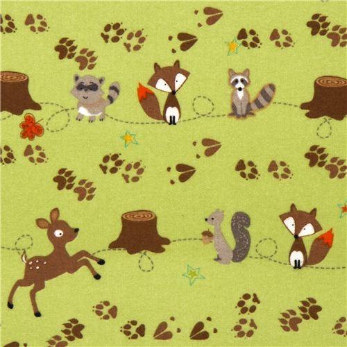 green Riley Blake flannel fabric deer fox racoon paw