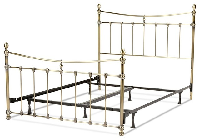 Fbg Leighton Complete Bed, Scalloped Castings, Antique Brass, Queen, B31285.