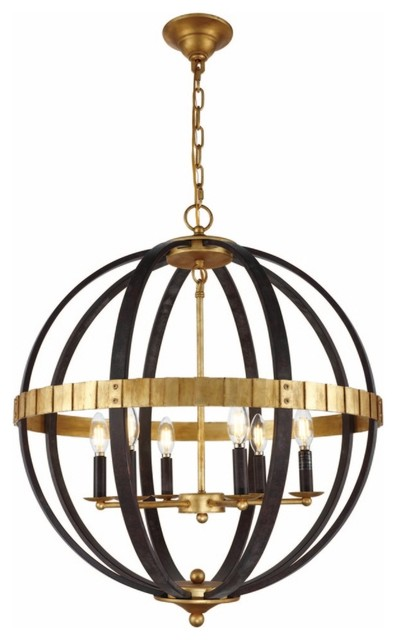 Orbus 6-Light Saddle Rust And Golden Iron Chandelier.