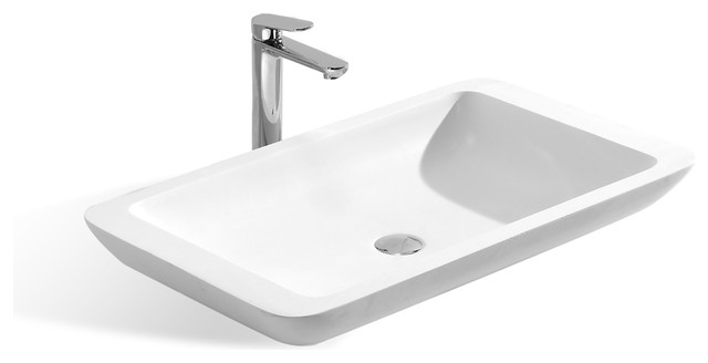 "31.5"" Stone Resin Solid Surface Rectangular Shape Bathroom Vanity Vessel Sink."