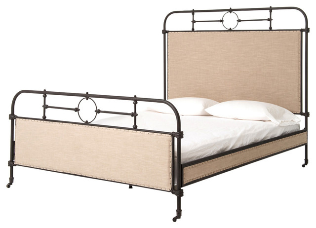 Home Fare Industrial Upholstered Queen Metal Bed with Nail Boarder