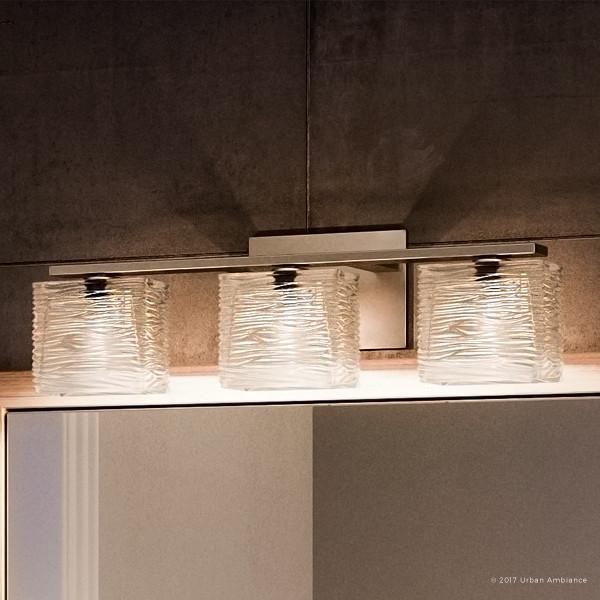 Luxury Modern Nickel Ribbed Glass Bathroom Light, UQL2722, San Diego Collection