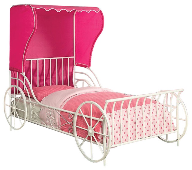 Charm Metal Full Size Carriage Bed With Tent, White Powder Coating Finish.