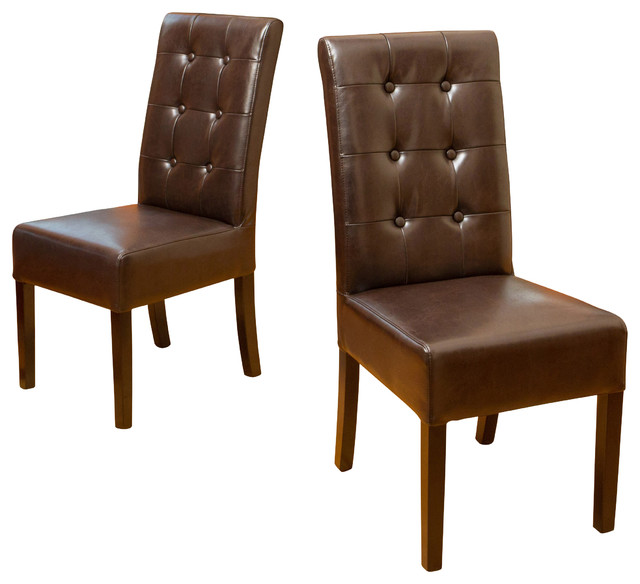 Set Of 2 Dining Room Furniture Tufted Brown Leather Dining: Harrison Tufted Leather Dining Chairs, Set Of 2