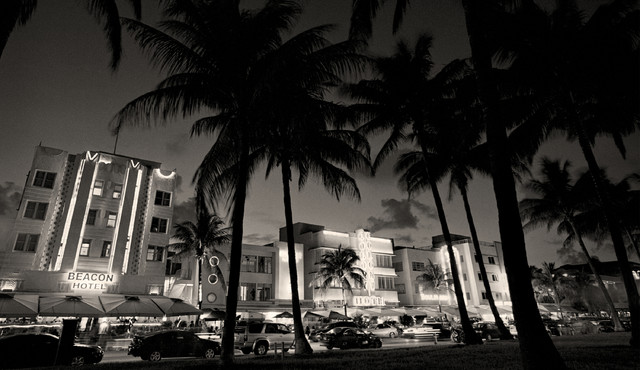 Art Deco Buildings Miami Beach Florida Fine Art Black and White