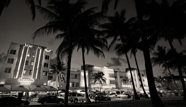 Art deco buildings miami beach florida fine art black and white photography 12x