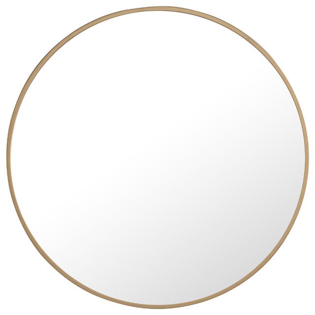 """Metal Frame Round Mirror 24"""" Brass"""