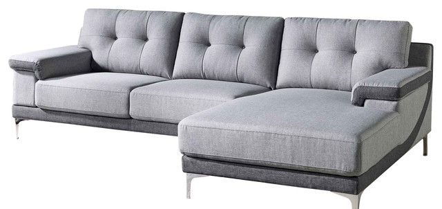 Modern Gray Fabric Tufted Hazel Sectional Right Chaise