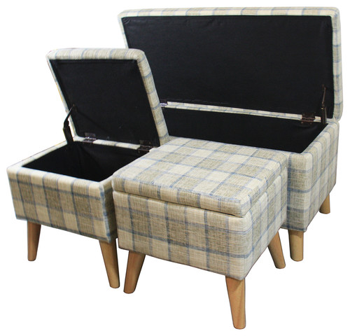 18 Grey Plaid Storage Bench with 2 Storage Ottoman Seating