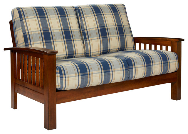 Maison Hill Mission Style Loveseat With Exposed Wood Frame Blue