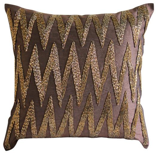 3D Beaded Zigzag Brown Art Silk Throw Pillow Covers, Gold Zig Zag ...