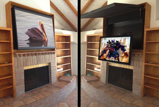 Hiding A Flat Panel Tv Above A Fireplace Contemporary Orange