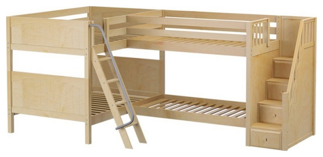 Calumet Full Sleeps 4 Or More L Shaped Bunk Beds With Stairs Transitional Bunk Beds By Totally Kids Fun Furniture Toys Houzz
