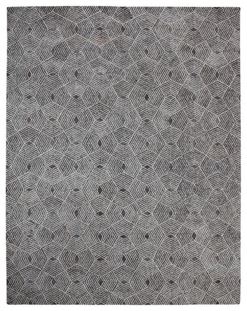 Fes Gray And Cream Geometric Rug, 9&x27;x12&x27;