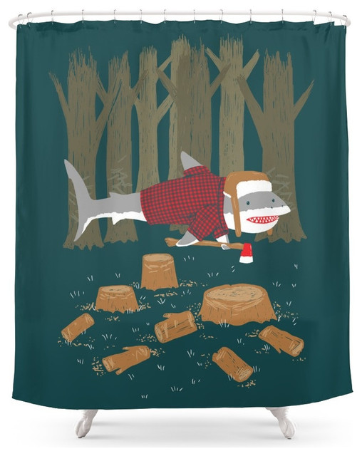 society6 lumberjack shark shower curtain - eclectic - shower
