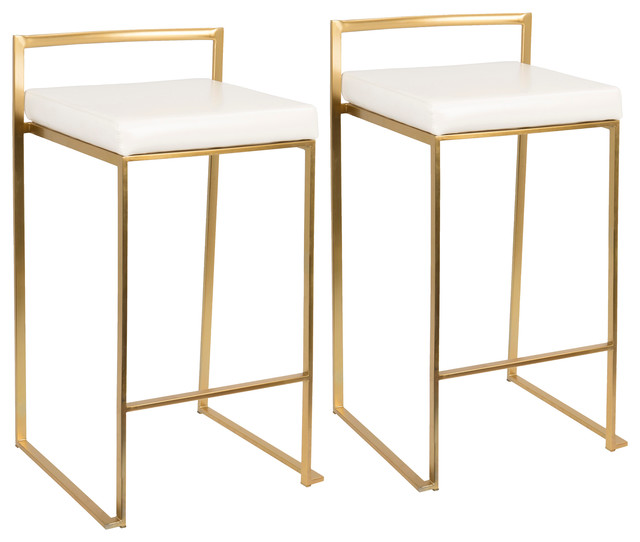 LumiSource Fuji Counter Stool Set of 2, White, Gold Frame
